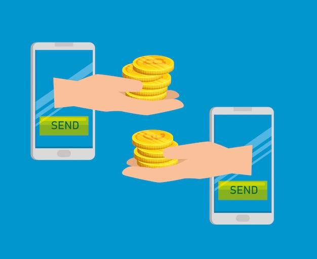 Smartphone con cambio de moneda bitcoin