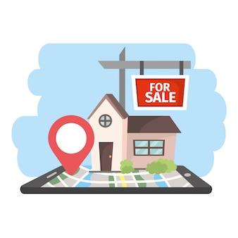 Smartphone con casas en venta propiedad con ubicación