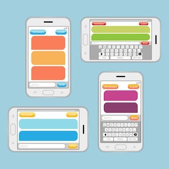 Smartphone chat mensajes sms discurso burbujas vector plantilla. mensajería por internet, comunicación por chat.