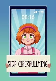 Smartphone con chica adolescente levantando letras de stop cyber bullying en banner