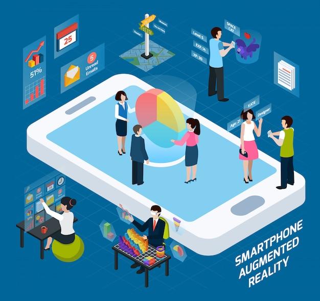 Smartphone composición aumentada isométrica de realidad