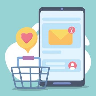 Smartphone, compras en línea, correo electrónico, redes sociales, comunicación y tecnologías