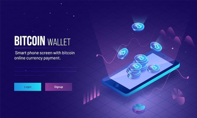 Smartphone con brillantes bitcoins para dinero virtual.