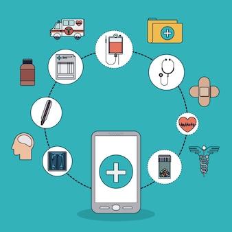 Smartphone con forma cruzada y conjunto de iconos