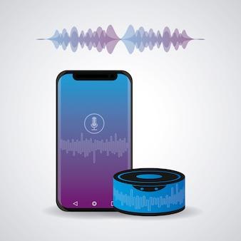 Smartphone conectado con altavoz inalámbrico