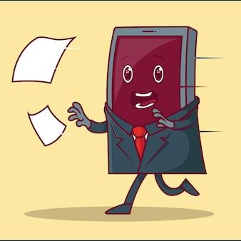 Smartphone corriendo después de la ilustración de documentos.