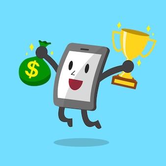 Smartphone de dibujos animados con bolsa de trofeo y dinero