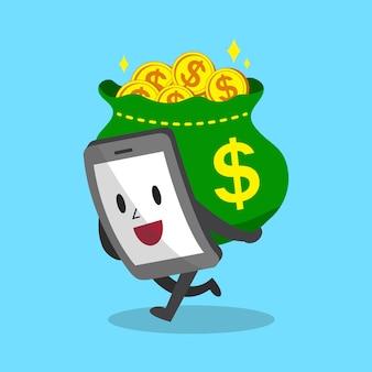 Smartphone de dibujos animados con mucho dinero
