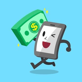 Smartphone de dibujos animados con pila de dinero grande