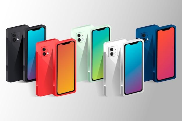 Smartphone de diseño plano en diferentes perspectivas