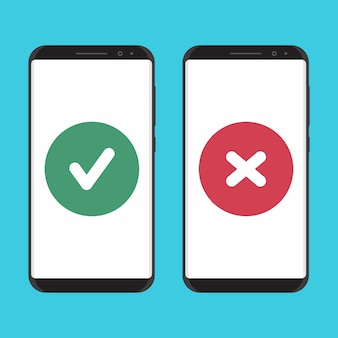 Smartphone de diseño plano seguro y no asegurado.