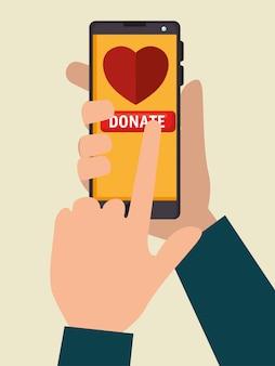 Smartphone para donación de caridad en línea