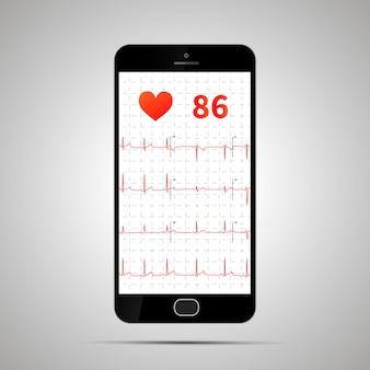 Smartphone con electrocardiograma humano típico