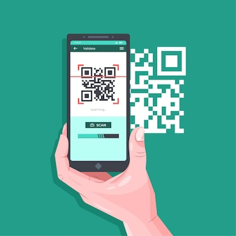 Smartphone escaneando código qr