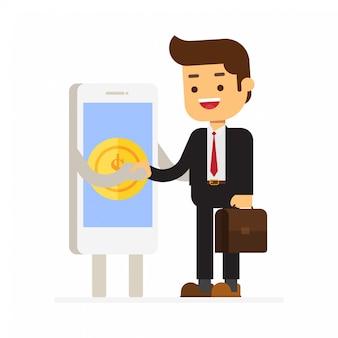 Smartphone estrechar la mano con el hombre de negocios