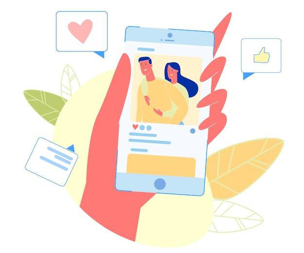 Smartphone con feliz pareja amorosa en la pantalla.