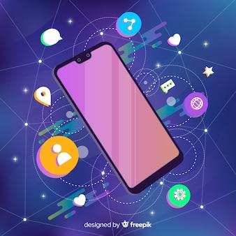 Smartphone flotando rodeado de elementos
