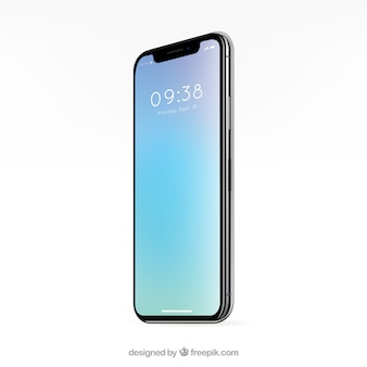 Smartphone con fondo azul