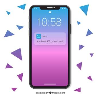 Smartphone con fondo degradado