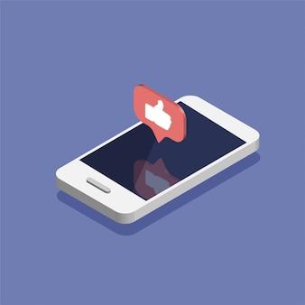Smartphone con icono de notificaciones de redes sociales en estilo isométrico de moda.