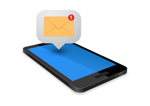 Smartphone con icono de sobre de mensaje sms