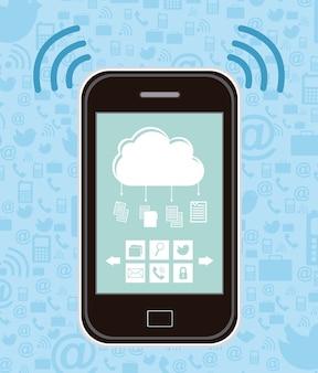 Smartphone con iconos de archivos sobre fondo azul