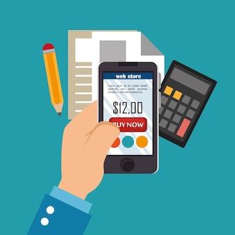 Smartphone con iconos de comercio electrónico