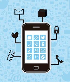 Smartphone con iconos de comunicación ilustración vectorial
