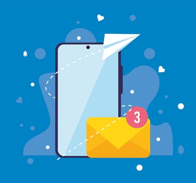Smartphone con iconos de notificaciones por correo electrónico