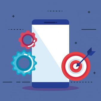 Smartphone con iconos de seo