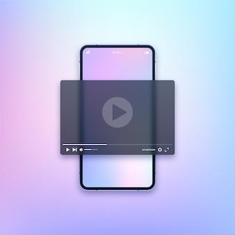 Smartphone con ilustración de aplicación de reproductor multimedia