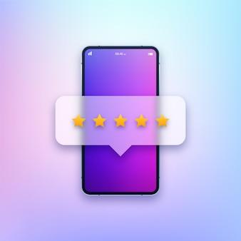 Smartphone con ilustración de calificación de estrellas