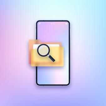 Smartphone con ilustración de carpeta de búsqueda