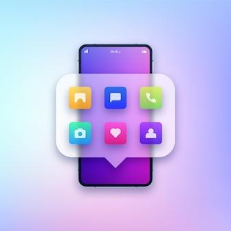 Smartphone con ilustración de diferentes aplicaciones.