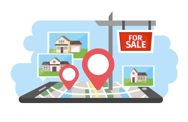 Smartphone con inmuebles en venta casas con ubicación.