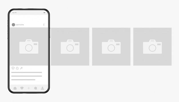 Smartphone con interfaz de red social de fotos en pantalla