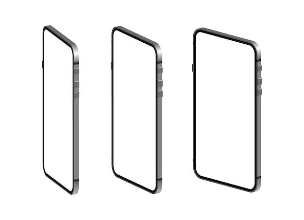Smartphone en isometría. teléfono con pantalla en blanco.