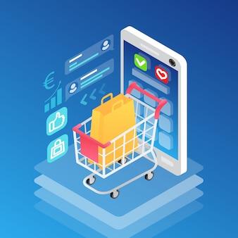 Smartphone isométrico y carro de compras con bolsa
