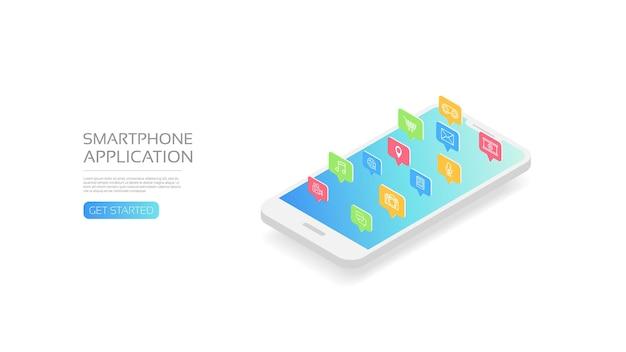 Smartphone isométrico con iconos de aplicaciones, aislado.