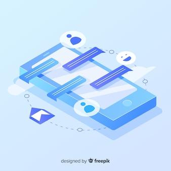 Smartphone isométrico con iconos y concepto de chat