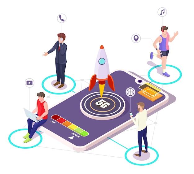 Smartphone isométrico, inicio de cohete 5g. gente hablando por teléfonos móviles, viendo videos en una computadora portátil, trotando con reloj inteligente, ilustración vectorial. sistemas inalámbricos de red 5g.