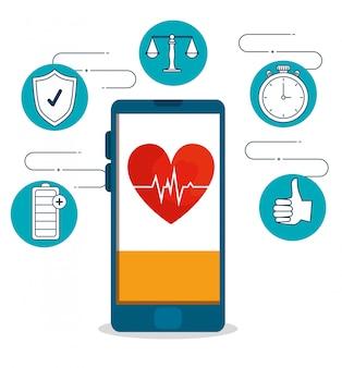 Smartphone con latidos cardíacos y ejercicio de estilo de vida saludable