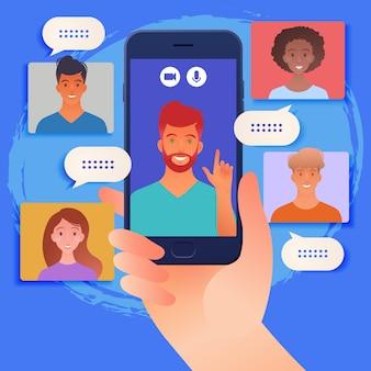 Smartphone en línea chat y reunión entre grupos de personas a través de una ilustración de vector de videollamada
