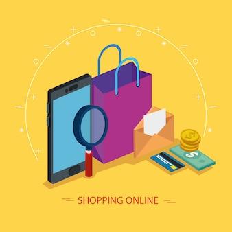 Smartphone y lupa con elementos de compras en línea
