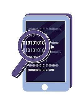 Smartphone y lupa con programa de código