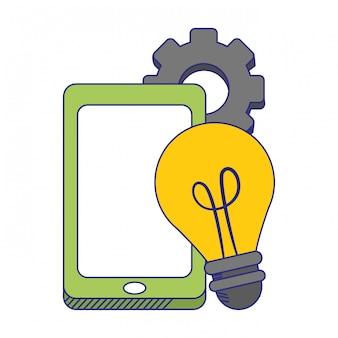 Smartphone y luz de bombilla con engranajes símbolos líneas azules