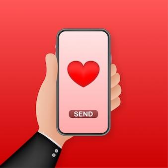 Smartphone mano amor. concepto de red social. mano que sostiene el teléfono móvil. como icono. internet móvil, redes sociales. ilustración.