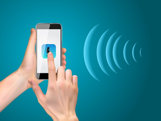 Smartphone de mano con botón de micrófono realista