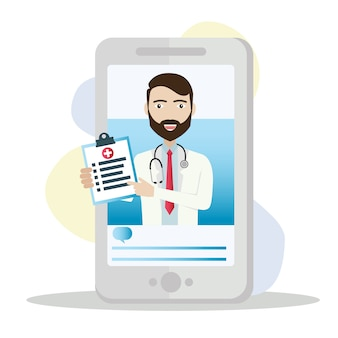 Smartphone con médico masculino de guardia y consulta en línea.