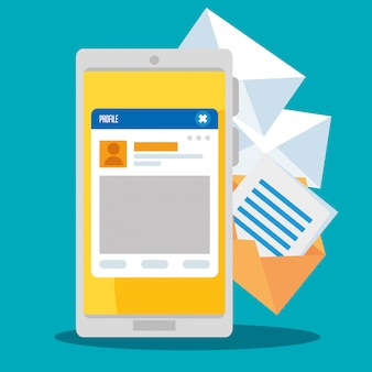 Smartphone con mensaje de perfil de chat social